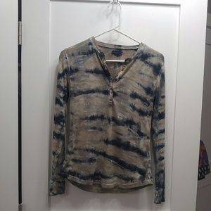 Brown beige blue tie dye long sleeve henley top